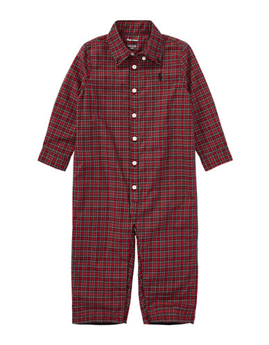 Ralph Lauren Childrenswear Plaid Cotton Poplin Coverall-RED-3 Months