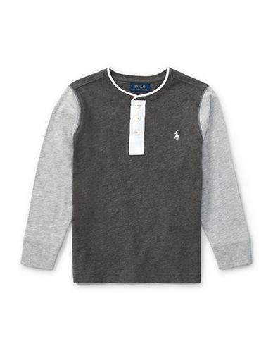 Ralph Lauren Childrenswear Boys Slub Cotton Jersey Henley-GREY-4