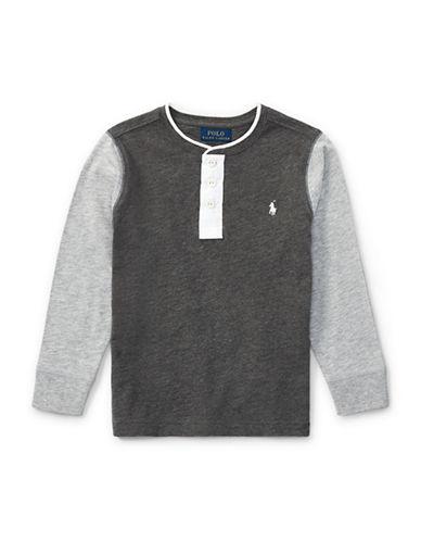 Ralph Lauren Childrenswear Boys Slub Cotton Jersey Henley-GREY-3