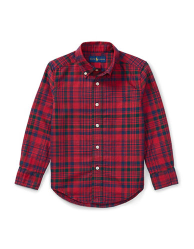 Ralph Lauren Childrenswear Plaid Cotton Oxford Shirt-RED-2T