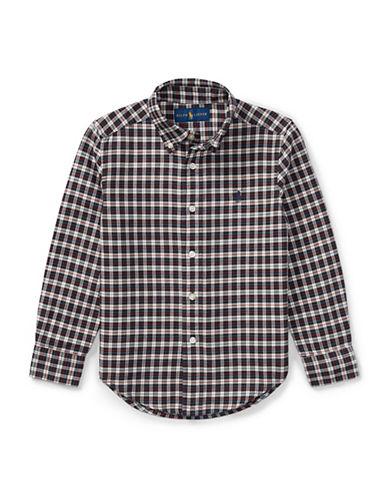 Ralph Lauren Childrenswear Plaid Cotton Oxford Shirt-WHITE-2T