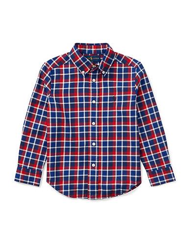 Ralph Lauren Childrenswear Plaid Cotton Collared Shirt-RED-4T
