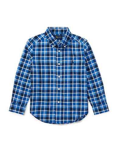 Ralph Lauren Childrenswear Plaid Cotton Collared Shirt-BLUE1-3T