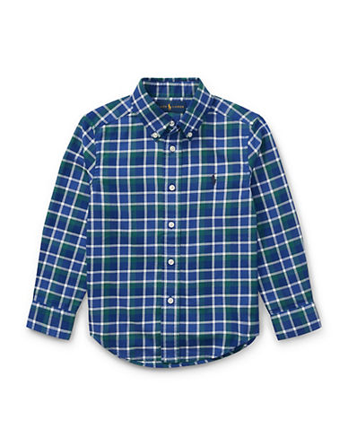 Ralph Lauren Childrenswear Plaid Cotton Collared Shirt-BLUE-3T