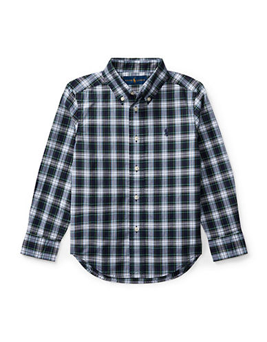 Ralph Lauren Childrenswear Tartan Cotton Collared Shirt-BLUE-3T