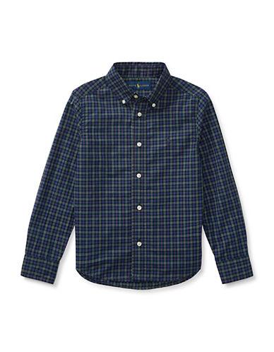 Ralph Lauren Childrenswear Tartan Cotton Collared Shirt-BLUE-2T