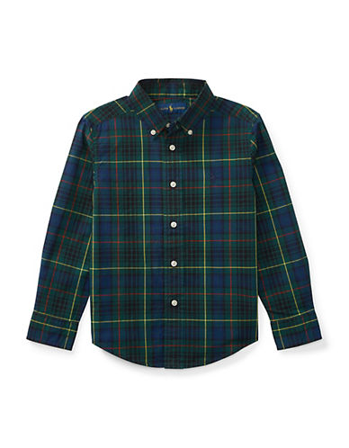 Ralph Lauren Childrenswear Tartan Cotton Collared Shirt-GREEN-2T