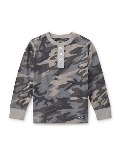 Ralph Lauren Childrenswear Camo Slub Cotton Jersey Henley-GREY-4
