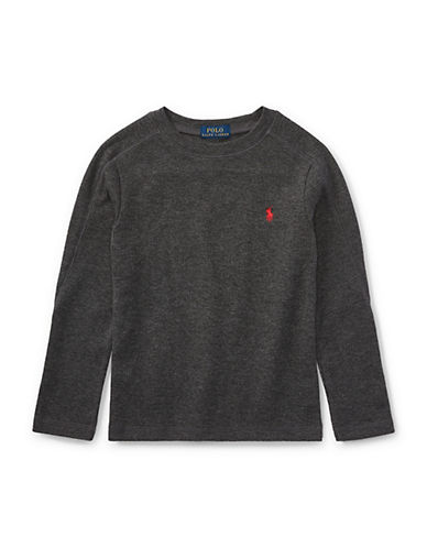 Ralph Lauren Childrenswear Waffle-Knit Tee-GREY-4T