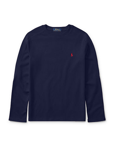 Ralph Lauren Childrenswear Waffle-Knit Tee-BLUE-2T