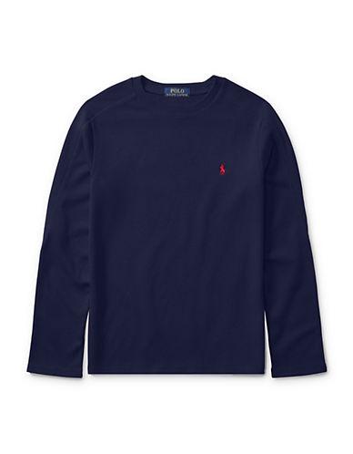 Ralph Lauren Childrenswear Waffle-Knit Tee-BLUE-4T