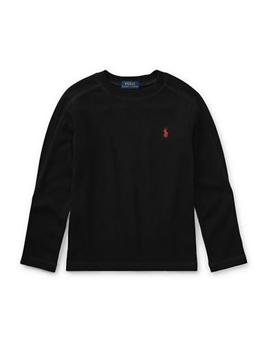 Ralph Lauren Childrenswear Waffle-Knit Tee-BLACK-4T
