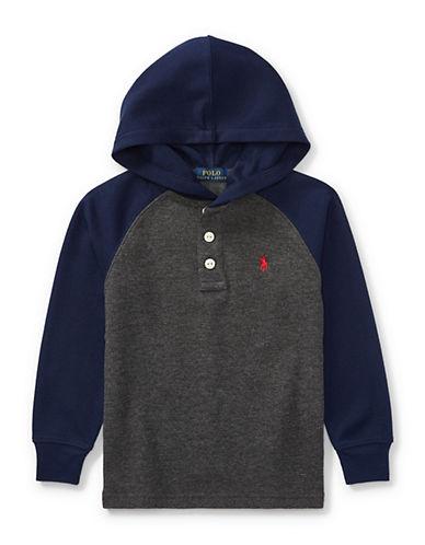Ralph Lauren Childrenswear Waffle-Knit Hoodie-GREY-2T