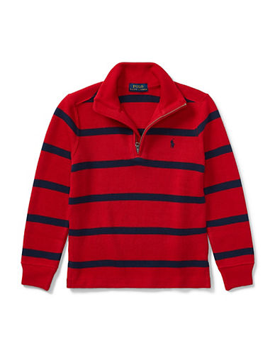 Ralph Lauren Childrenswear Striped French-Rib Pullover-RED-2T