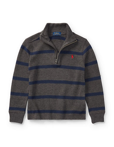Ralph Lauren Childrenswear Striped French-Rib Pullover-GREY-4T