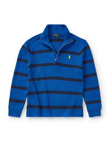 Ralph Lauren Childrenswear Striped French-Rib Pullover-BLUE-3T