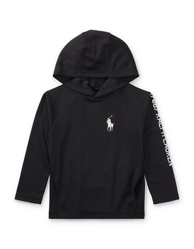 Ralph Lauren Childrenswear Performance Waffle-Knit Hoodie-BLACK-3T