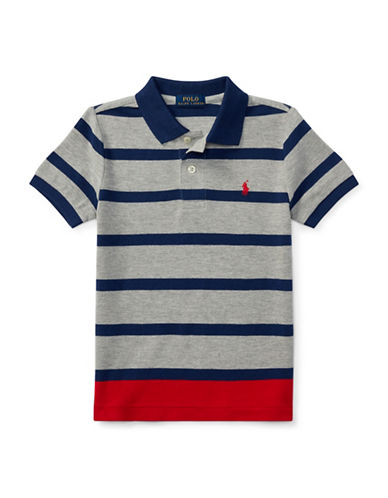 Ralph Lauren Childrenswear Striped Cotton Mesh Polo-GREY-5