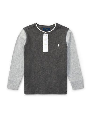 Ralph Lauren Childrenswear Boys Slub Cotton Jersey Henley-GREY-6