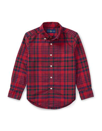 Ralph Lauren Childrenswear Plaid Cotton Oxford Button-Down Shirt-RED-7