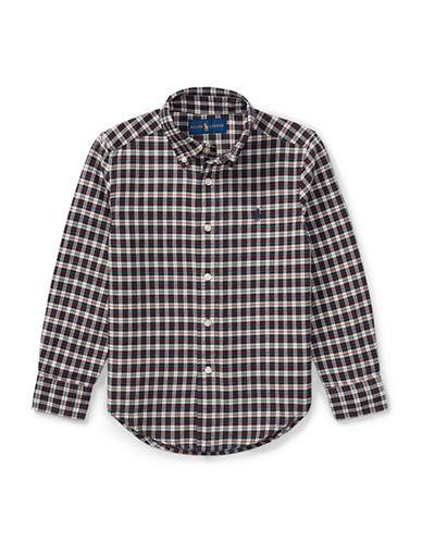 Ralph Lauren Childrenswear Plaid Cotton Oxford Button-Down Shirt-CREAM-6