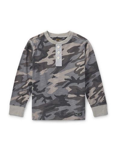 Ralph Lauren Childrenswear Camo Slub Cotton Jersey Henley-GREY-7