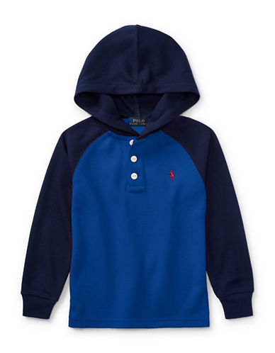 Ralph Lauren Childrenswear Waffle-Knit Hoodie-BLUE-5