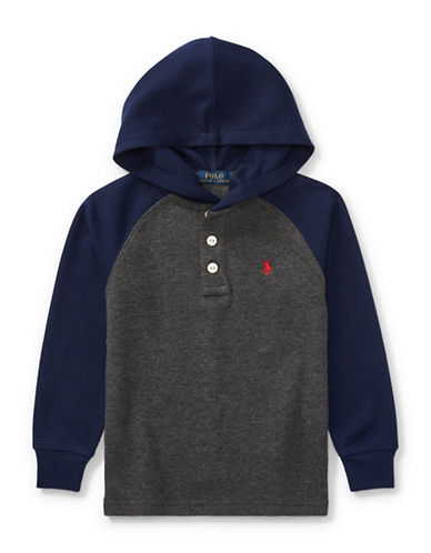 Ralph Lauren Childrenswear Waffle-Knit Hoodie-GREY-5