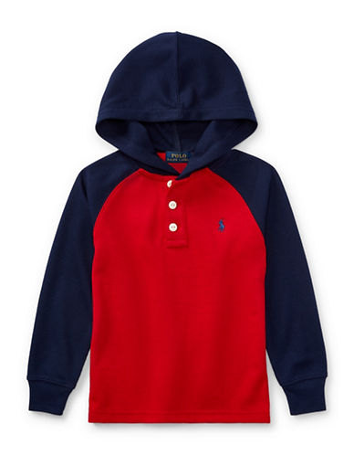 Ralph Lauren Childrenswear Waffle-Knit Hoodie-RED-7