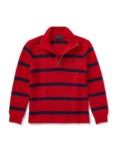 Ralph Lauren Childrenswear Striped French-Rib Pullover-RED-6
