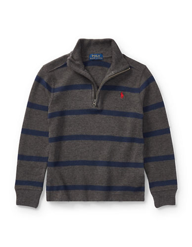 Ralph Lauren Childrenswear Striped French-Rib Pullover-GREY-5