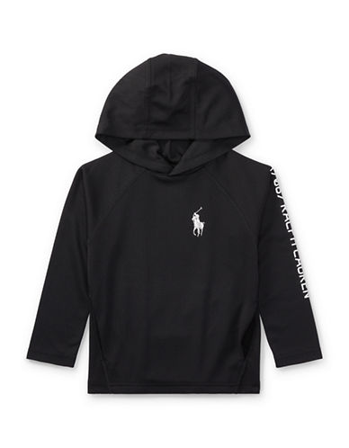 Ralph Lauren Childrenswear Performance Waffle-Knit Hoodie-BLACK-5