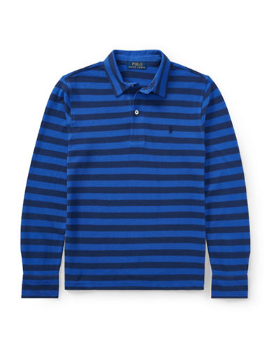 Ralph Lauren Childrenswear Featherweight Cotton Long-Sleeve Polo-BLUE-Medium