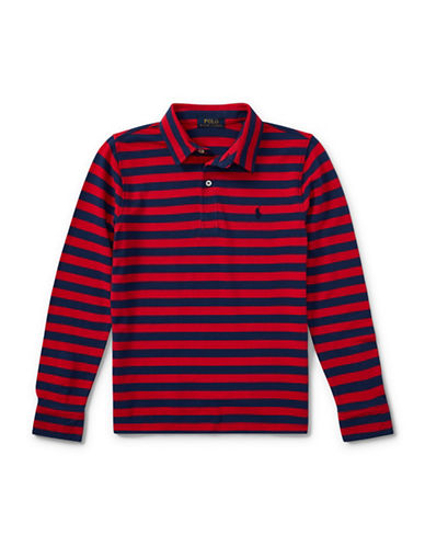 Ralph Lauren Childrenswear Featherweight Cotton Long-Sleeve Polo-RED-Large