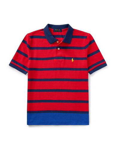 Ralph Lauren Childrenswear Striped Cotton Mesh Polo-RED-X-Large