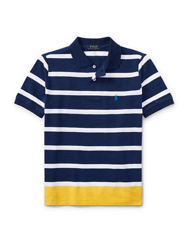 Ralph Lauren Childrenswear Striped Cotton Mesh Polo-BLUE-Large