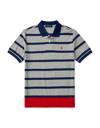 Ralph Lauren Childrenswear Striped Cotton Mesh Polo-GREY-Small