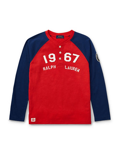 Ralph Lauren Childrenswear Cotton Baseball Henley Jersey-RED-Small