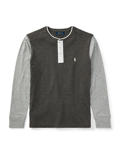 Ralph Lauren Childrenswear Cotton Slub Henley Jersey-GREY-Small