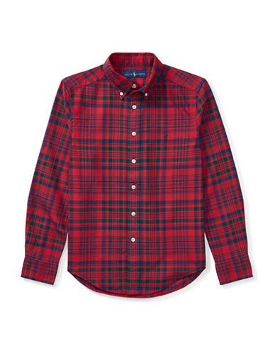Ralph Lauren Childrenswear Plaid Cotton Oxford Button-Down Shirt-RED-Medium