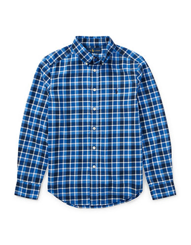 Ralph Lauren Childrenswear Plaid Cotton Twill Collared Shirt-BLUE-Large