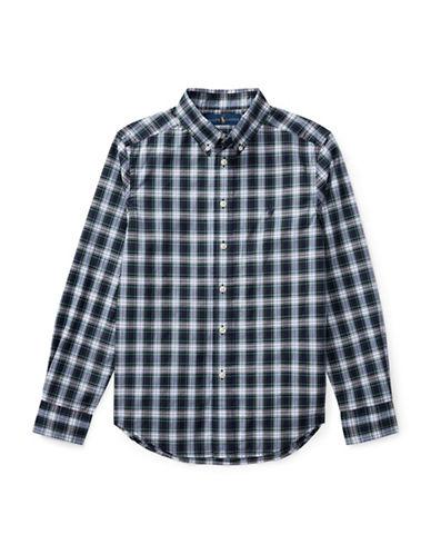 Ralph Lauren Childrenswear Tartan Cotton Collared Shirt-WHITE-X-Large
