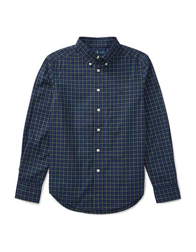 Ralph Lauren Childrenswear Tartan Cotton Collared Shirt-BLUE-X-Large