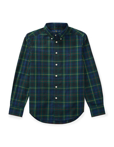 Ralph Lauren Childrenswear Tartan Cotton Collared Shirt-GREEN-Large