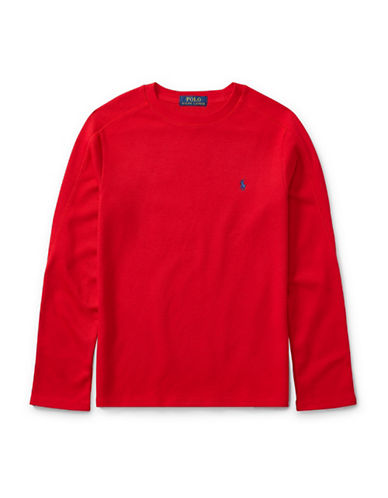 Ralph Lauren Childrenswear Waffle-Knit T-Shirt-RED-X-Large
