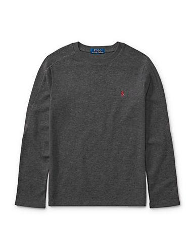 Ralph Lauren Childrenswear Waffle-Knit T-Shirt-GREY-Small