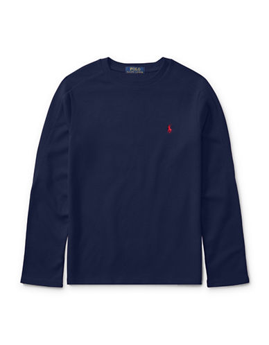 Ralph Lauren Childrenswear Waffle-Knit T-Shirt-BLUE-Medium