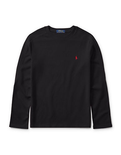 Ralph Lauren Childrenswear Waffle-Knit T-Shirt-BLACK-Large