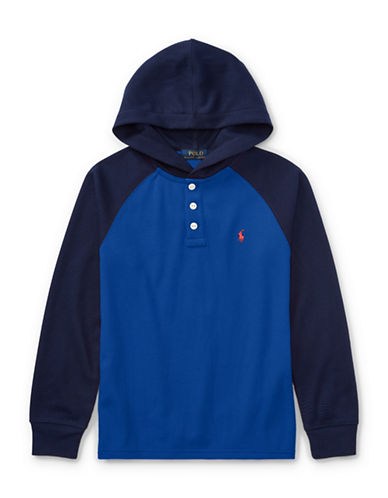 Ralph Lauren Childrenswear Waffle-Knit Hoodie-BLUE-X-Large