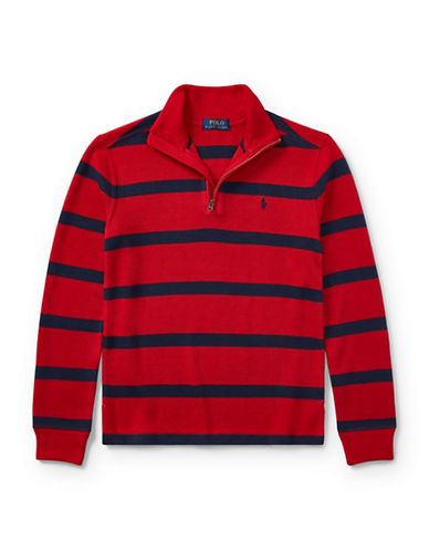 Ralph Lauren Childrenswear Striped French-Rib Pullover-RED-X-Large